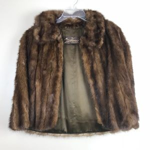 Vintage mink fur shawl stole wrap cape medium